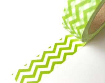 50% OFF CLEARANCE SALE !!!  Washi Tape - Light Green Chevron - Masking Tape - 1.5cm x 10yd (9.1m) (was 3.00)