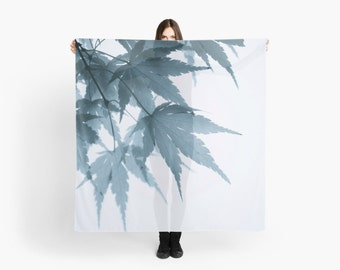 White Ethereal Scarf, Feminine Mother's Day Gift for Women, Japanese Maple Leaves Photo Scarf, Square Scarf, Blue Green Minimalist Fashion