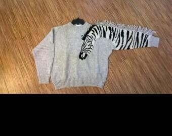 Vintage Zebra Animal Print Sweater