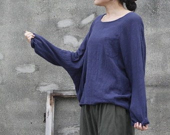 Women Blue Shirt Casual Cotton Shirt Linen Blouse Plus Size Top Long Sleeve Blouse