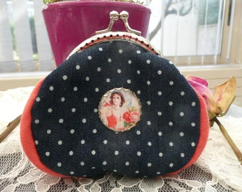 Coral and blue jean purse