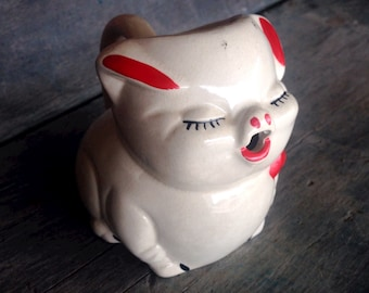 American Bisque Pig Creamer |  Pretty Pig Creamer 1940s |  White Pig with Red Bow