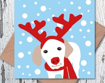 Shake Paws' Exclusive Rein Dog Christmas Greetings Card, dog lovers Christmas card
