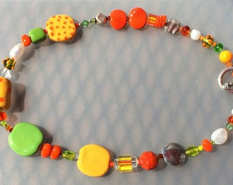 Kazuri Bead Necklace in Yellow, Orange, Green with Silver Toggle