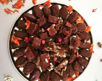 A platter of 30 handmade Vegan assorted Chocolates