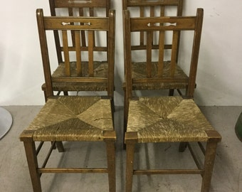 Set of 4 Oak & Ratten Chairs