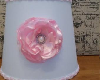 Pink and White Lamp Shape, Silk Handmade flower
