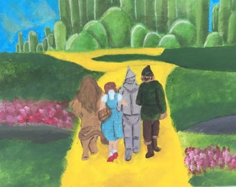 Off to see the wizard. Wizard of oz canvas painting in acrylic, home decor wall art