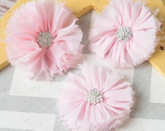 Light Pink ballerina flowers, Pink fabric flower supplies, shabby chiffon flowers, craft supplies, large flowers, wholesale flowers supplies