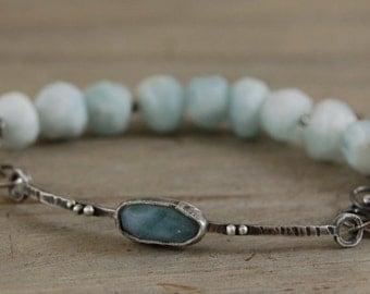 aquamarine silver bracelet,  light blue aquamarine bracelet