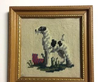 Vintage Cross Stitch, Framed Dog Cross Stich, Vintage Home Decor, Vintage Dog Art, Dog Cross Stitch