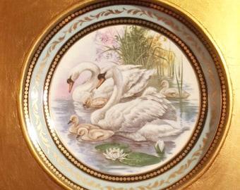 Gold Leaf Framed Swan Plate