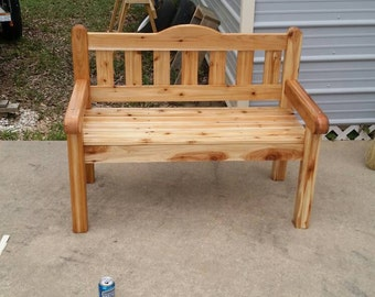 Outdoor home made cedar bench