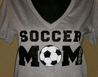 Soccer Mom Tee with childs name in M
