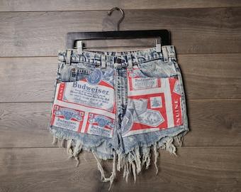 high waisted budweiser shorts