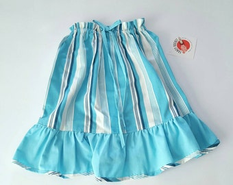 SALE Sz Small 5 to 6 years old girl Summer Girl skirt ruffles turquoise white stripes