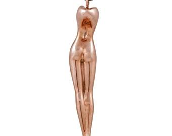 Sculpture en bronze poli signé, artistique collier pour femme, corps de femme nue,  unique, art sensuel