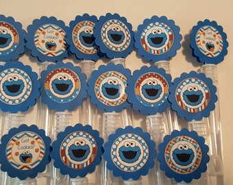 Cookie Monster Inspired Mini Bubble Wands party favors- set of 15