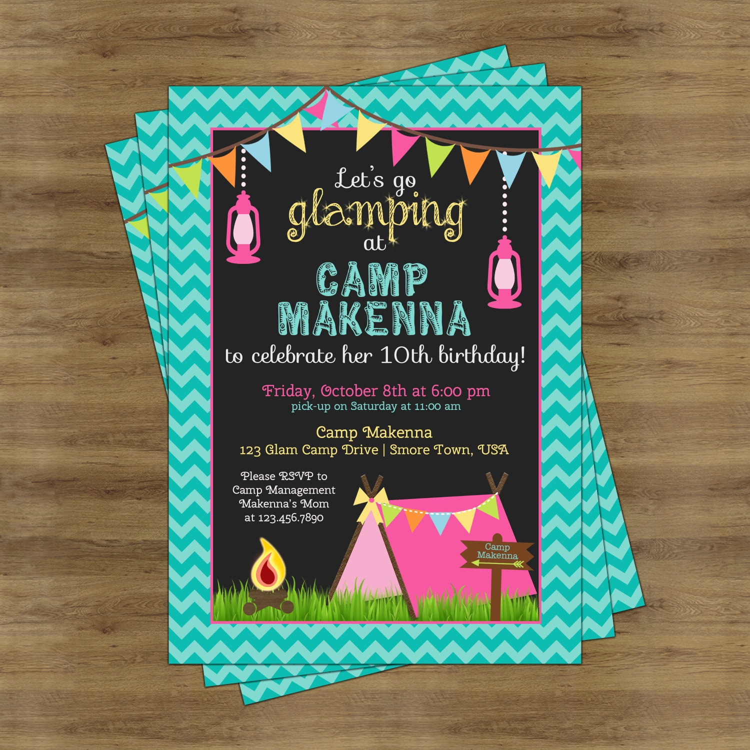 Camping Theme Invitations: Glamping Party Invitation Camping Birthday Invitation For