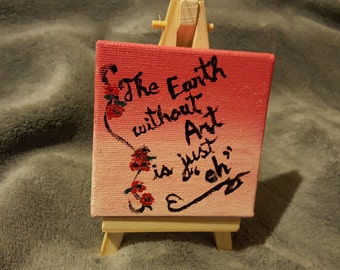 Mini canvas Art with easel