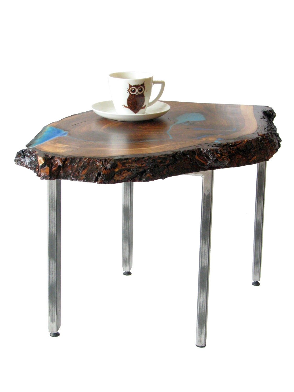 Live Edge Waterfall Coffee Table With Glowing Resin Fillin