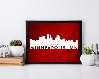 Minneapolis City Art, coordinate art, house warming, newly weds, tourist, travel, traveler, gift, home decor, print, poster