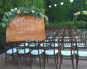 Wedding Welcome Sign   Wood Signage