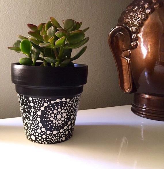 hand painted black and white terra cotta pot. Black Bedroom Furniture Sets. Home Design Ideas