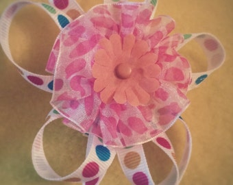 FLOWER RAINBOW ribbon BOW