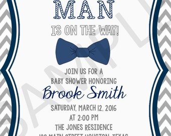 Little Man Shower Invite, Grey and Navy Chevron, Bowtie Shower Invitation, Baby Boy Shower Invitation, Digital Invitation