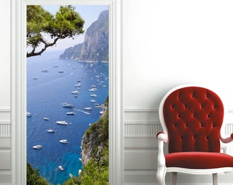 "Door Wall Sticker ***Capri Island*** / Self-Adhesive Vinyl Decal Poster Mural 31""w x 79""h (80 x 200cm) / Vinyl Wall Paper / Wallpaper"