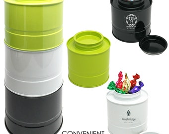 Coffee Tea Stackable Air Tight Canister Tin Container Travel on the Go Empty No logo White Black or Lime Green