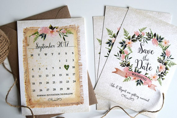 Rustic Wreath Save The Date Card Sample