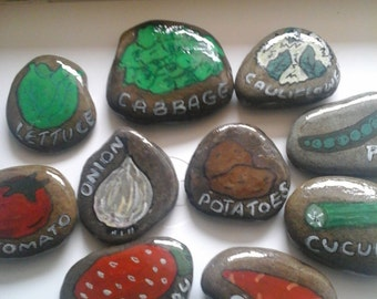 Four vegetable pebble markers garden stones, great gifts for gardeners