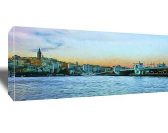 Istanbul, Galata Bridge, Ready to Hang Canvas or Framed Canvas, Panoramic, Waterfront, Sunset, Constantinople, Turkey, Popular Landmark