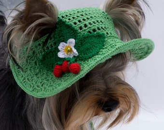 Wide Brimmed Hat Dog's/Green Hat for Dog/Spring Hat dog's/Hat with Strawberries for Dog/Sunhat for dog/Hand Knit Dog