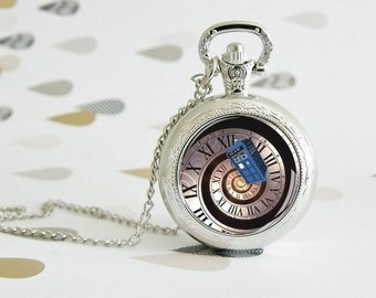 Spiral of Time - Dr. Who - Pocket watch - Victorian Steampunk style - Glass cabochon - Special Easy gift