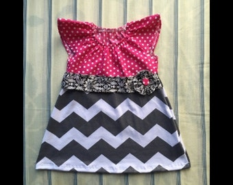 Grey chevron, pink polka dot, damask, girl toddler summer dress
