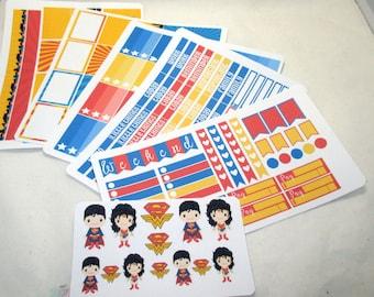 Superman and Wonder Woman Full Week Sticker Kit