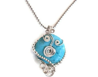 Blue Turquoise and Silver WireWrapped Pendant, Contemporary