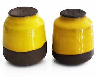 Ceramic Cylindrical Salt & Pepper Shakers