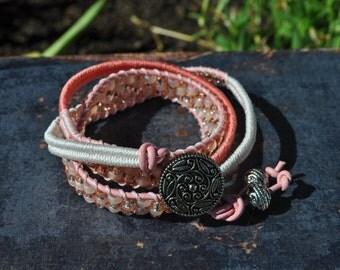Handmade pink 3 wrap leather bracelet.