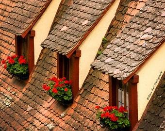 Medieval Art, Rustic Roof Print Photo,Rustic Decor,Yellow Orange Decor,German Photography,Window Art,Wall Decor,Wall Art
