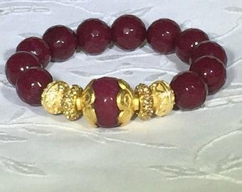 Ruby Jade Faceted Bead Bracelet