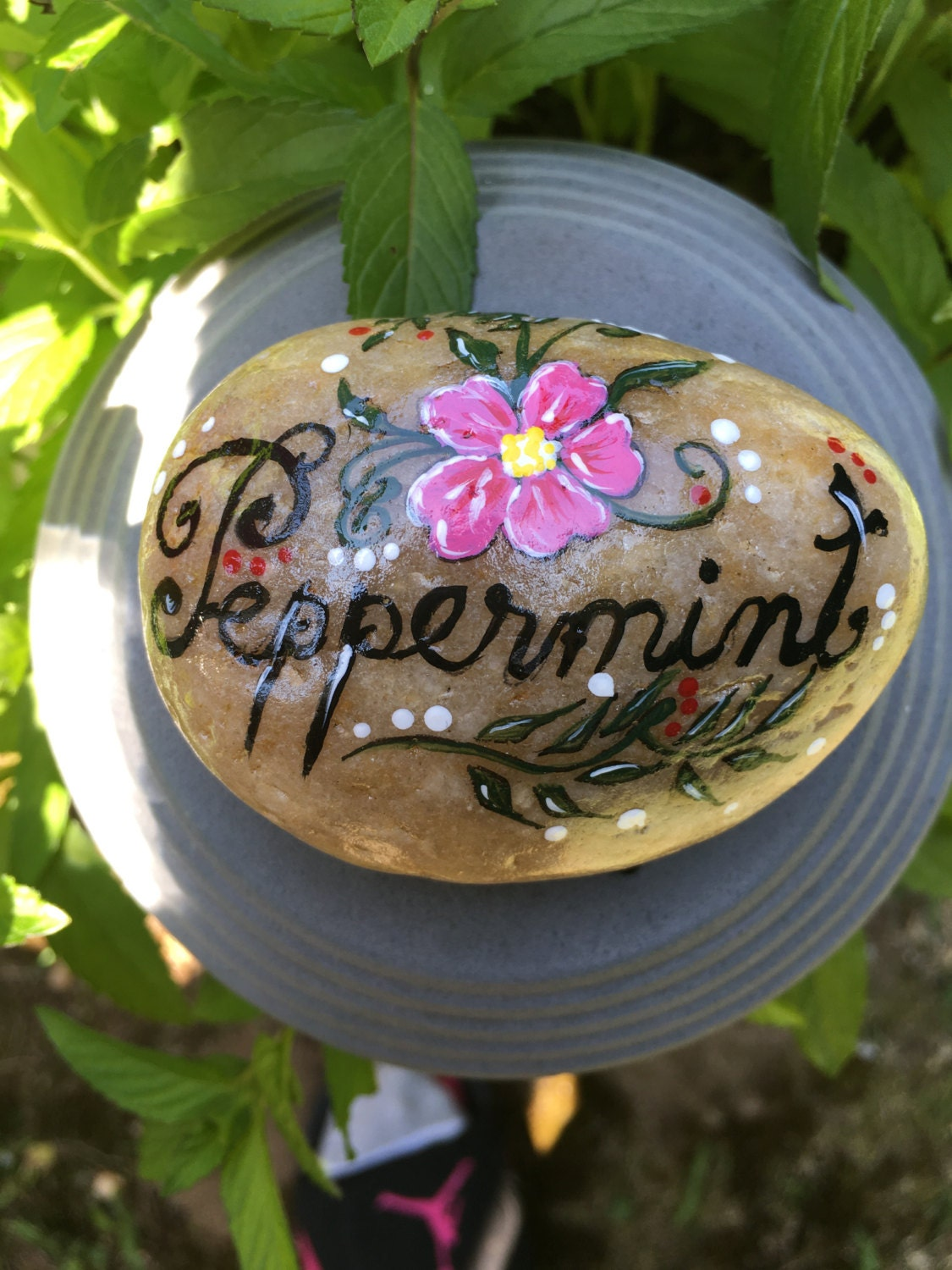 Hand painted stone peppermint garden stone stone art - Hand painted garden stones ...