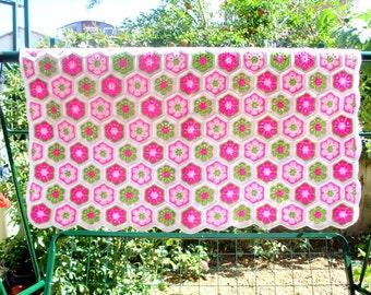 handmade baby blanket, granny square afghan blanket,crochet african flower granny square, handmade blanket, crochet blanket, crochet quilt