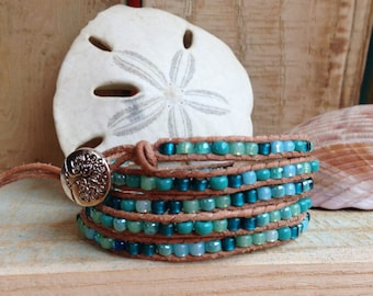 5 Wrap Natural Leather Bracelet - Blue