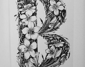 Pen & ink floral letter B