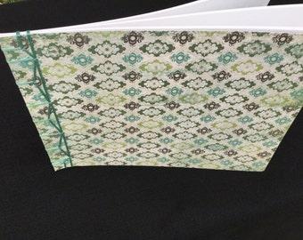 Japanese Stab Binding Notebook - Green Medallion/Aqua Binding