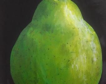 Original painting, acrylic painting, canvas, 8x10, bartlett pear, green fruit